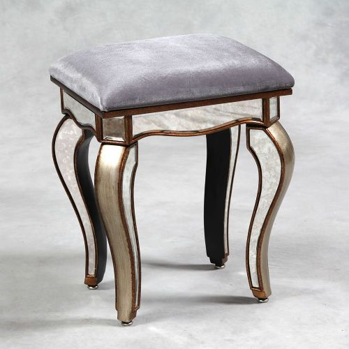 Venetian Antique Mirrored Gold Edged Stool
